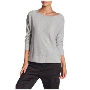 Vince • solid gray slub long sleeve tee top